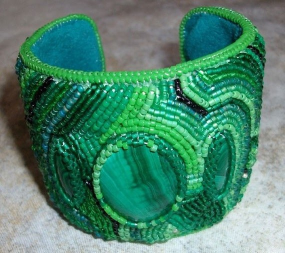 RESERVED FOR Private Party --  Malachite cabochons  green and teal glass seed beads stitched cuff bracelet