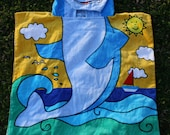 Personalized Hooded Beach Towel, Dolphin