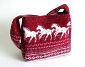 Felted red wool purse or small tote (OOAK) from upcycled sweater.