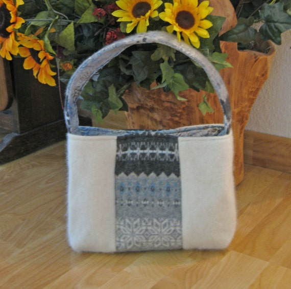Reserved for Victoria:  Elegant Felted Wool Handbag / Gray Cashmere / Creamy Lambswool /  from upcycled wool sweaters.
