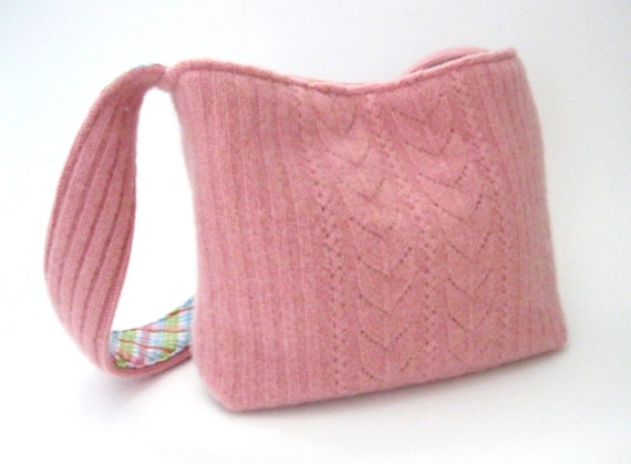 Felted pink cashmere wool purse (OOAK) from upcycled cabled sweater.