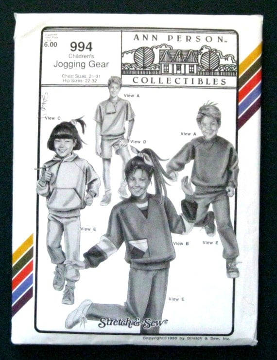 Vintage 1990's children's jogging gear pattern 994 by Ann Person Collectibles