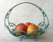 Chippy Shabby Blue Green Wrought Iron Curly que Basket