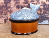 Vintage Portugese Fish Covered Dish or Trinket Box