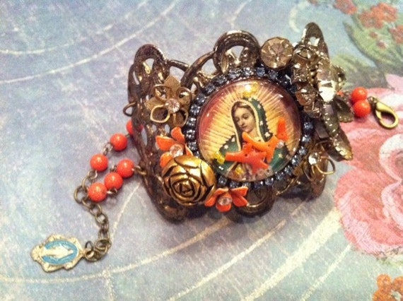 ON SALE Virgin of Guadalupe Cuff Bracelet