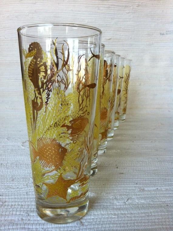 Retro Vintage Glass Tumblers Beach Seashore Coral Theme Set of 6