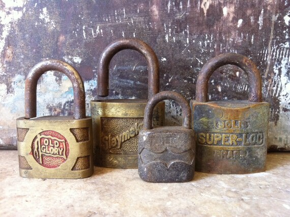 Vintage Collection of Antique Locks Lot of 4