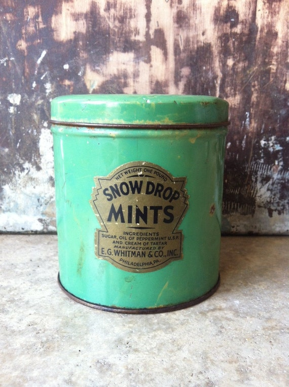 Vintage Shabby Chic Snow Drop Mints Tin Canister