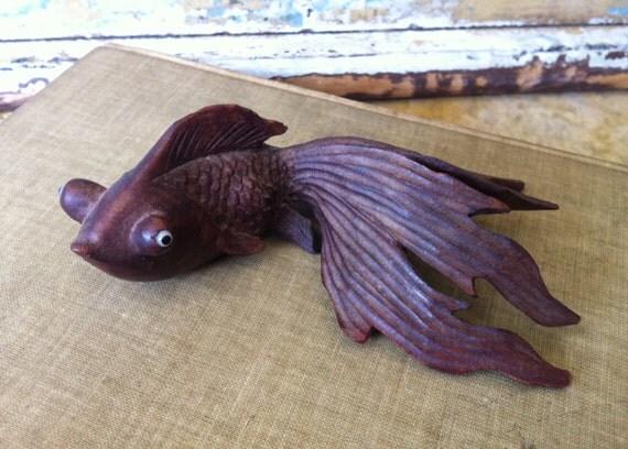 Vintage Handcarved Wooden Koi Fish