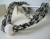 Boho-chic black, white & pearl melange Necklace