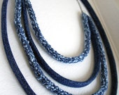 Statement upcycle necklace-smoky blue-Sky blue-Vintage denim indigo