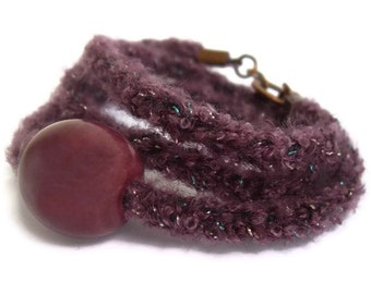 Spring Glitter sparkly berry purple bracelet- Knitwear jeweley