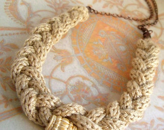 Fresh antique pastel - Soft powder peach braided necklace - warm textures combined with exquisite bead