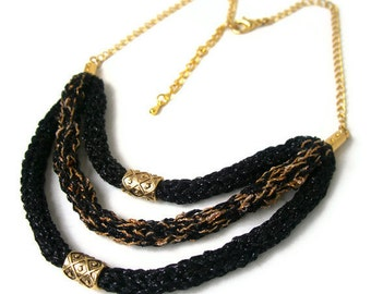 Tribal chic gold & black party necklace - trendy dazzling party