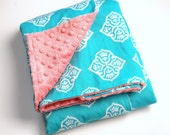 LIMITED EDITION - New - The Malone - Boutique Minky Blanket with Turquoise & White Ikat print and Coral Minky -Shower Gift