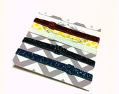 INTERCHANGEABLE 2 Pk Glitter Elastic Headbands - Summer, Spring, Birthday - CUSTOM