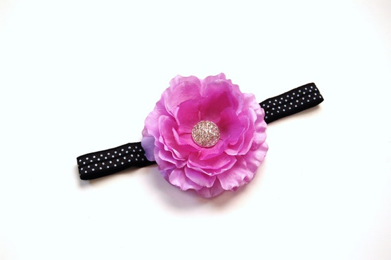 Large Lavendar Silk Flower on Black & White foe headband with Pave Rhinestone Button Center - Boutique Quality