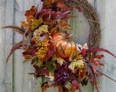 Fall Wreath, Autumn Wreaths, Pumpkin Decor, Fall Woodland Wreath, Halloween Decor, Thanksgiving Wreath - NewEnglandWreath