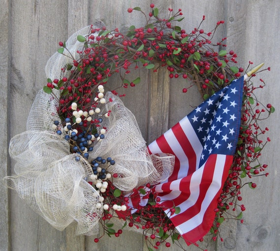American Flag 4th of July Traditional Berry Wreath