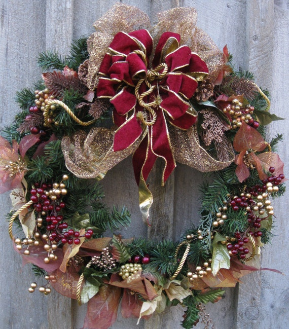 Christmas Decorations For Victorian Homes: Christmas Wreath Holiday Door Wreath Victorian Decor