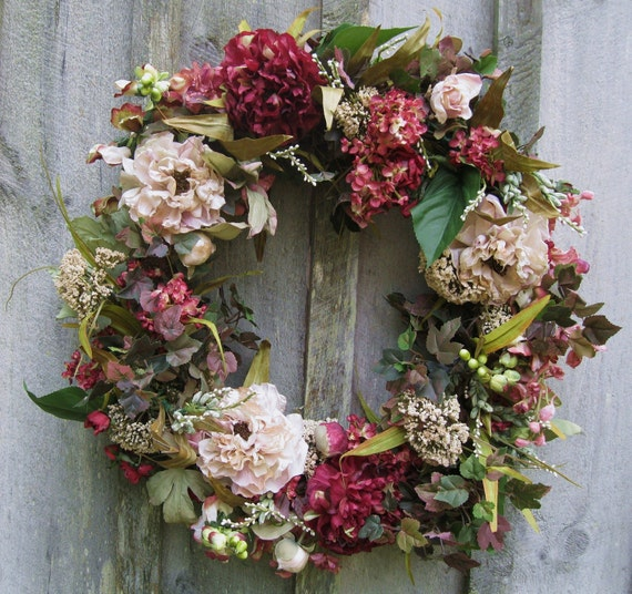 Floral Wreath, Hydrangea Wreath, Floral Door Decor, Victorian, Garden Decor, Country French