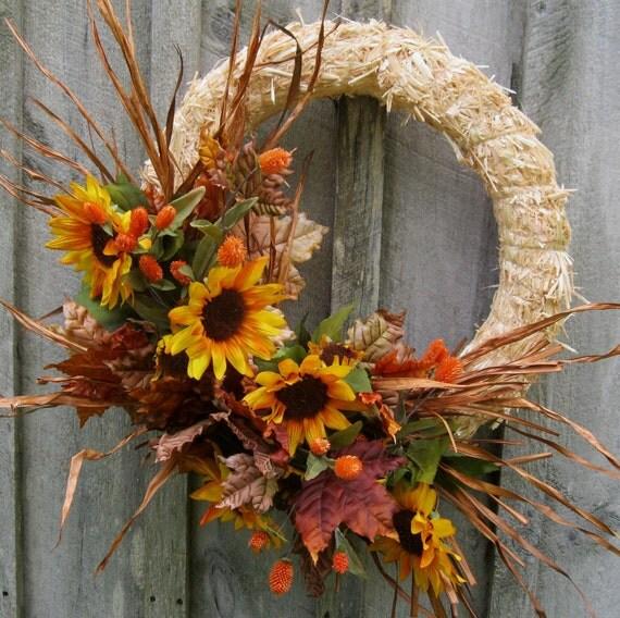 Sale Wreath, Fall Wreaths, Autumn Straw Wreath, Sunflowers, Halloween, Harvest, Woodland, Fall Door Decor
