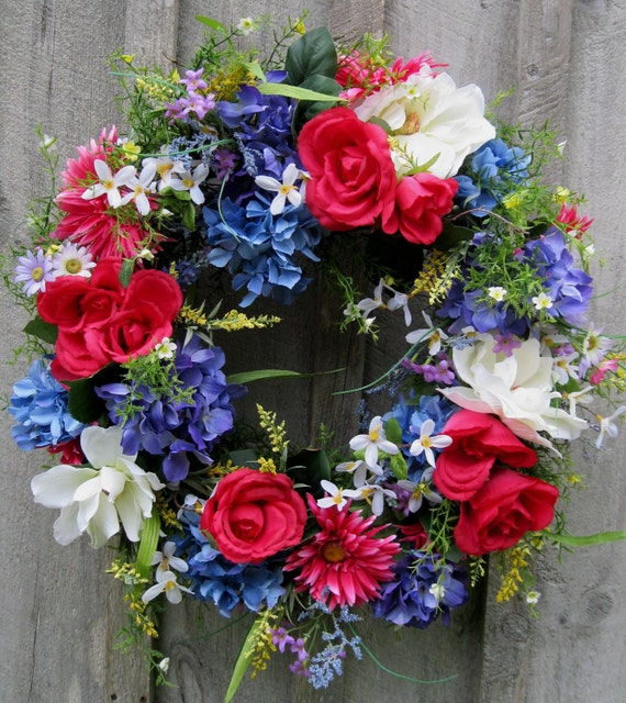 Summer Wreath, Hydrangea Wreath, Fourth of July, Patriotic, Wedding, Floral Garden Wreath