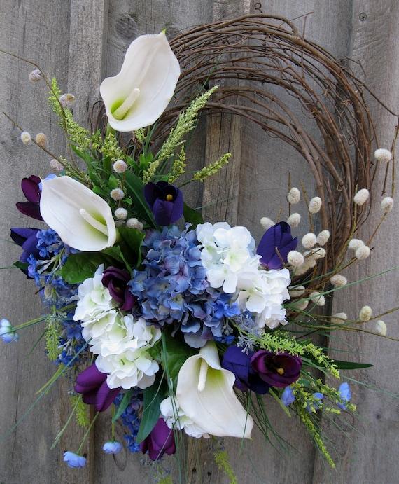 Floral Wreath, Easter, Spring Wreath, Summer, Wedding Decor, Calla Lily