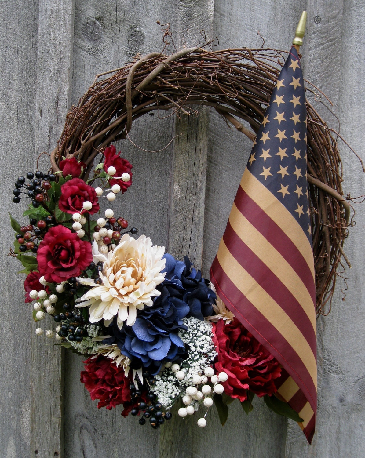 Americana Wreath Patriotic Door Wreath Hydrangea Mums Tea