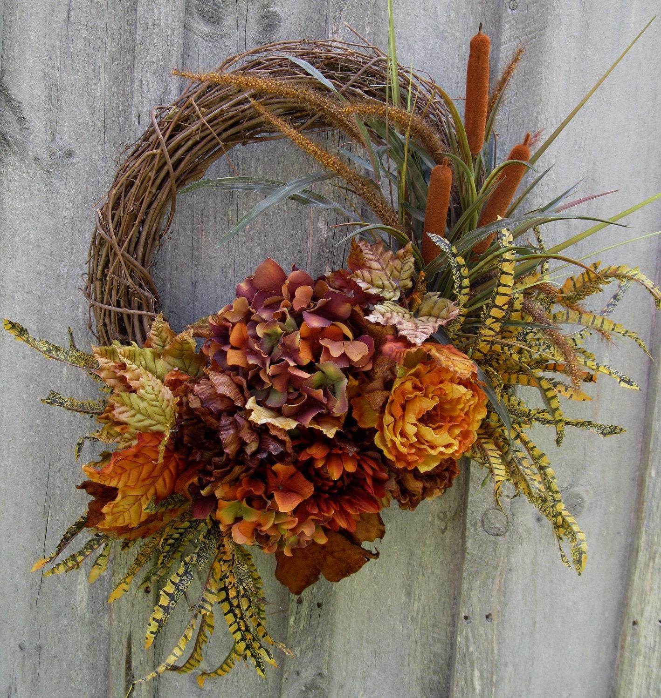 Autumn Wreaths Fall Floral Wreath Hydrangea By