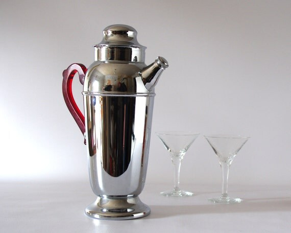 Chrome Cocktail Shaker with Red Bakelite Handle