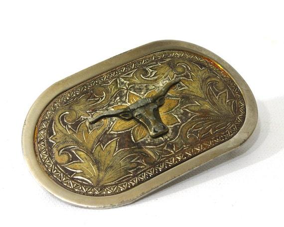 Vintage Western Belt Buckle, Longhorn Cattle, Nickel Plated, Cowboy