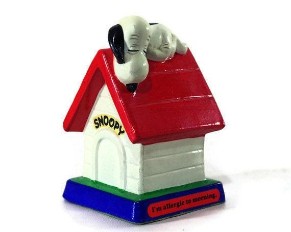 Vintage Snoopy Peanuts Figurine, I'm Allergic To Morning