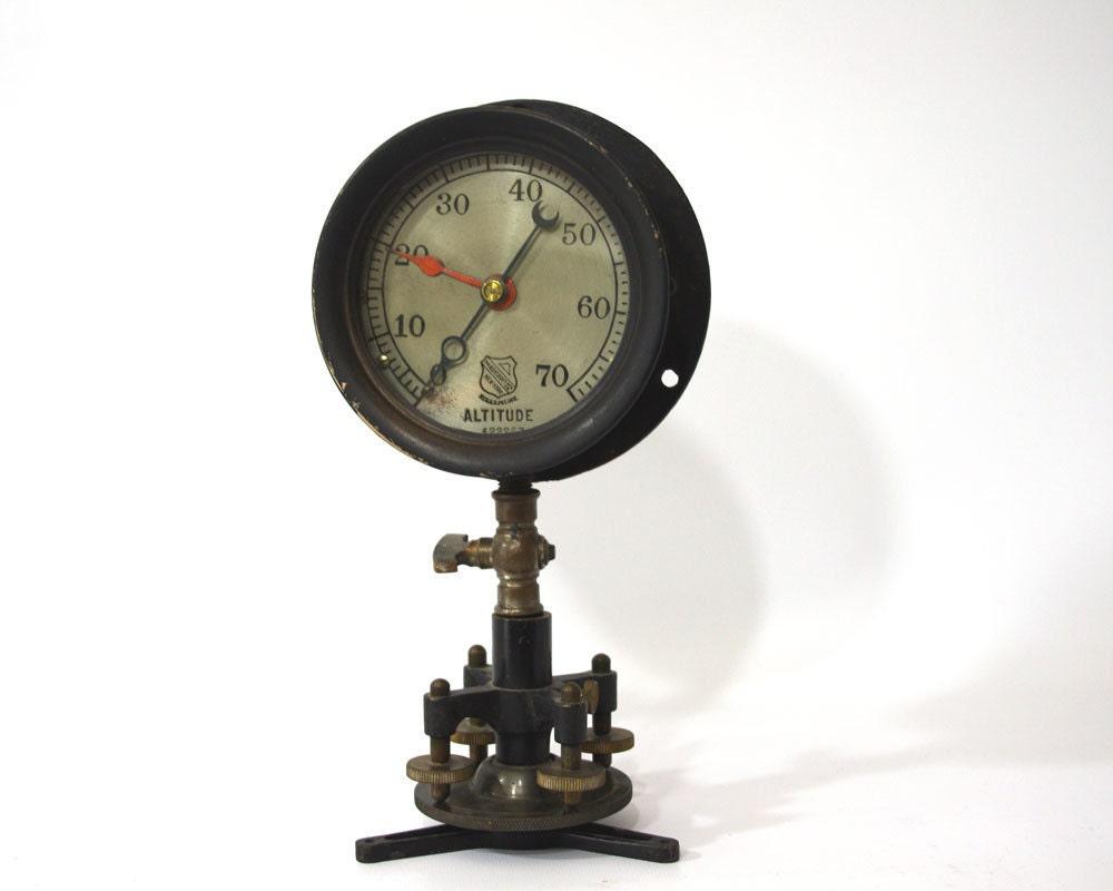 Vintage Steam Altitude Gauge Ashcroft Steampunk Decor