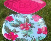 2-Tiered Cupcake Stand or Food Display- Pink Hibiscus