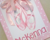 Ballet Shoes, Pink Polka Dot, 11x14, MADE TO ORDER