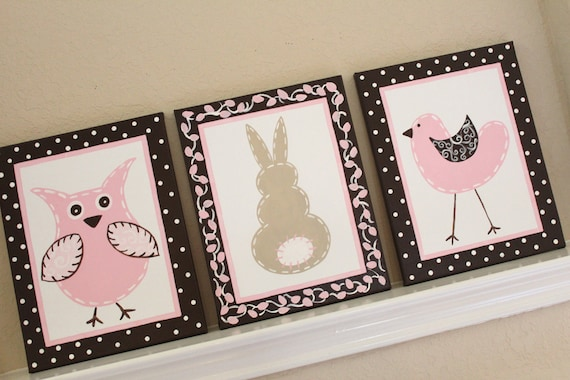 Owl, Bunny, and Birdie 11x14 (set of 3) MADE TO ORDER
