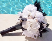 Shell Bridal Bouquet, Alternative Bouquet, Black and White Destination Wedding Bouquet, Shell and Flower Beach Wedding Bouquet