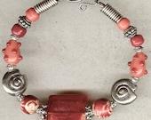 Beaded Orange Bracelet, Bangle Bracelet, Gypsy Jewelry, Chunky Bracelet, Orange, Red Glass Beads, Beach Style, Handmade Clasp