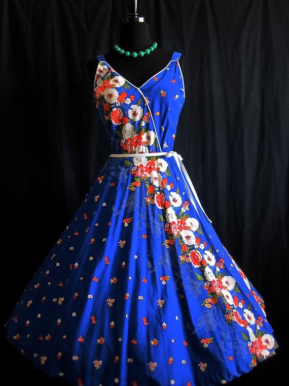 HOLD Illyne Rios: 1950's Bold Royal Blue Red White Carnation Plunge Full Circle skirt Smocked back Garden Party Sun Dress M/Full