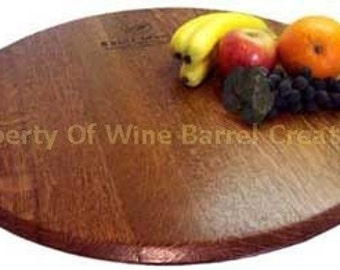 Oak Wine Barrel head Lazy Susan Froma  Napa valley Winery