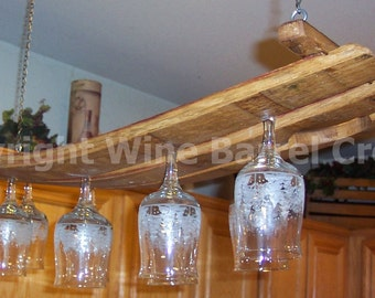 Hanging  Glass Rack Stemware Rack Made From Oak Wine Barrel Staves