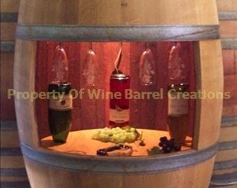 Wine Barrel Wine Cabinet Wine Glass Rack and Bottle Holder With Light Solid Oak