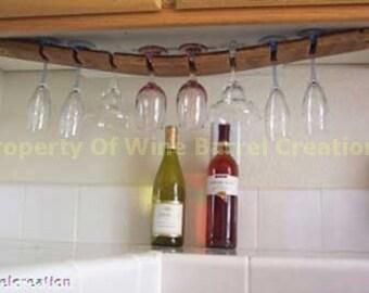 Under Cabinet WIne Barrel Stave wine Glass Rack