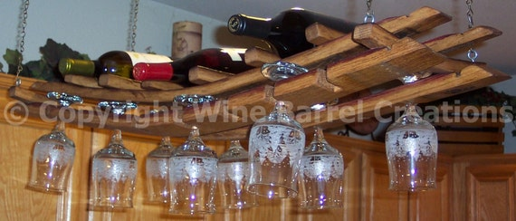 Hanging Wine Glass and Bottle Rack  Made From Recycled Wine Barrel Staves