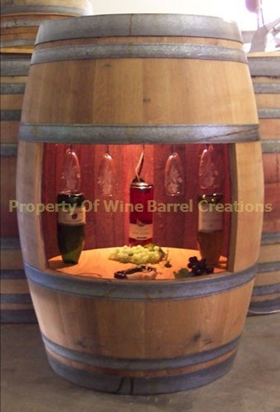 Wine Barrel Wine Cabinet Wine Glass Rack and Bottle Holder With Light Solid Oak