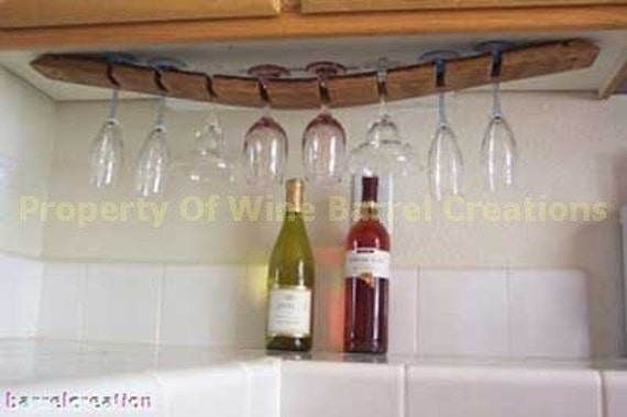 Under Cabinet WIne Barrel Stave wine Glass Rack