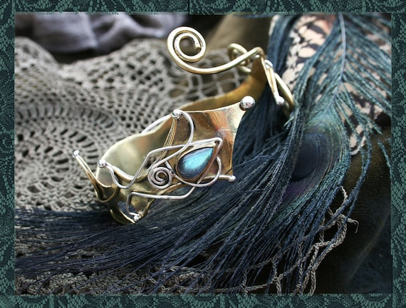 Labradorite Brass and Silver Armlet RESERVED