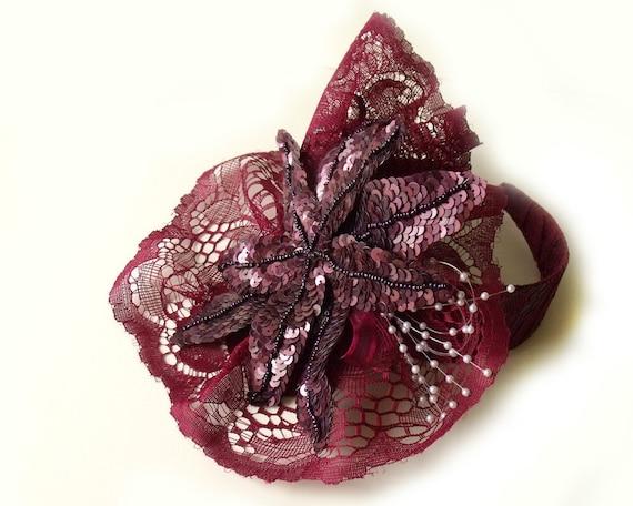 Fascinator headband. Sequins flower. Burgundy lace headband. Romantic Lolita fascinator