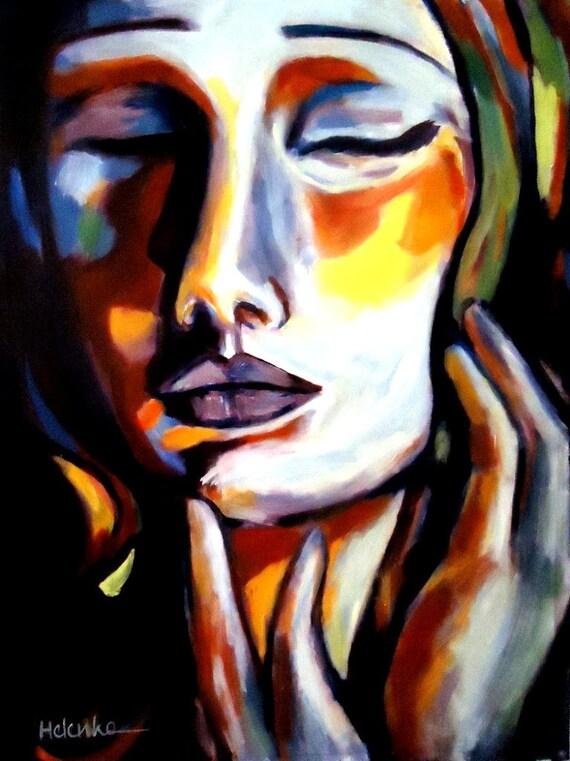 Original Contemporary Art  Painting on Canvas by Helenka Wierzbicki - Emotion